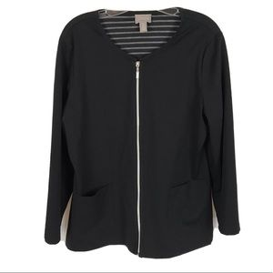 Chico's full zip mid length solid black jacket